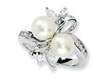 Cheryl M Sterling Silver CZ White Cultured Pearl Leaves Ring