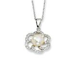 Cheryl M™ Sterling Silver CZ White Cultured Pearl Floral 18In Necklace