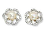 Cheryl M™ Sterling Silver CZ Cultured Pearl Floral Post Earrings