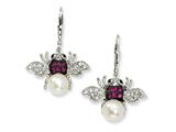 Cheryl M™ Sterling Silver Cultured Pearl CZ Bee Earrings