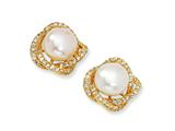 Cheryl M™ Gold Plated Sterling Silver CZ White Cultured Pearl Post Earrings