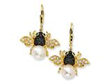 Cheryl M™ Gold Plated Sterling Silver Cultured Pearl CZ Bee Earrings