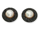Cheryl M™ Gold Plated Sterling Silver Blk CZ Cultured Pearl Post Earrings
