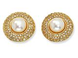 Cheryl M™ Gold Plated Sterling Silver CZ Cultured Pearl Post Earrings