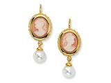 Cheryl M™ Gold Plated Sterling Silver Glass Pearl/Cameo/CZ Leverback Earrings