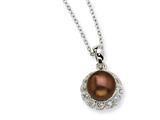 Cheryl M™ Sterling Silver CZ Chocolate Cultured Pearl 18In Necklace