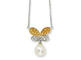 Cheryl M™ Gold Plated Sterling Silver CZ 7mm FWCult Pearl Butterfly 16In Necklace
