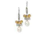 Cheryl M™ Sterling Silver CZ Cultured Pearl Butterfly Dangle Earrings