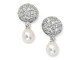 Cheryl M™ Sterling Silver CZ Cultured Pearl Dangle Post Earrings