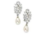 Cheryl M™ Sterling Silver CZ Cultured Pearl Omega Back Earrings