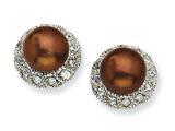 Cheryl M™ Sterling Silver CZ Chocolate Cultured Pearl Stud Earrings
