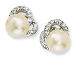 Cheryl M™ Sterling Silver CZ Cultured Pearl Post Earrings
