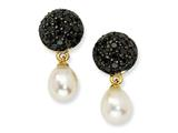 Cheryl M™ Gold Plated Sterling Silver CZ Cultured Pearl Dangle Post Earrings