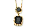 Cheryl M™ Gold Plated Sterling Silver Black/White CZ 18in Necklace