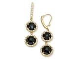 Cheryl M™ Gold Plated Sterling Silver Checker Blk CZ 2-stone Wire Earrings