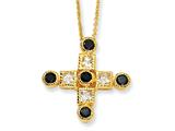 Cheryl M™ Gold Plated Sterling Silver Black and White CZ Cross 18in Necklace
