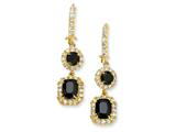 Cheryl M Gold Plated Sterling Silver Black/White CZ French Wire Earrings