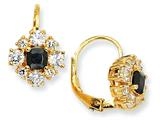 Cheryl M Gold Plated Sterling Silver Black and White CZ Leverback Earrings