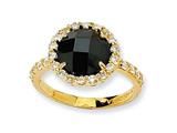Cheryl M™ Gold Plated Sterling Silver Checker-cut Black/White CZ Ring