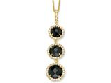 Cheryl M™ Gold Plated Sterling Silver Chkr-cut Black CZ 3-stone 18in Necklace
