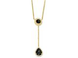 Cheryl M Gold Plated Sterling Silver Checker-cut Blk/Wht CZ 17in Necklace