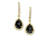 Cheryl M™ Gold Plated Sterling Silver Chkr-cut Blk/Wht CZ French Wire Earrings