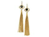 Cheryl M™ Gold Plated Sterling Silver CZ Dangle Chain Post Earrings
