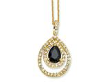 Cheryl M™ Gold Plated Sterling Silver Blk/Wht Pear CZ 18in Necklace