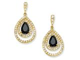 Cheryl M™ Gold Plated Sterling Silver Blk/Wht Pear CZ Dangle Post Earrings