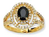 Cheryl M™ Gold Plated Sterling Silver Fancy Oval Black/White CZ Ring