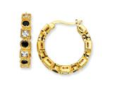 Cheryl M™ Gold Plated Sterling Silver Black and White CZ Hoop Earrings