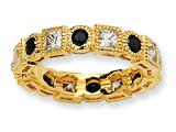 Cheryl M Gold Plated Sterling Silver Black and White CZ Eternity Ring