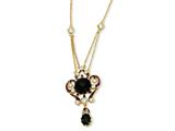 Cheryl M™ Gold Plated Sterling Silver Enameled Simul.Onyx and CZ 18in Necklace