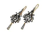 Cheryl M™ Gld-pltd and Blk-pltd Sterling Silver CZ Chandelier French Wire Earrings