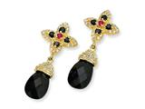 Cheryl M™ Gold Plated Sterling Silver Teardrop Blk CZ/Synth.Ruby Post Earrings