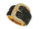 Cheryl M™ Gold Plated Sterling Silver Black/White CZ Buckle Ring
