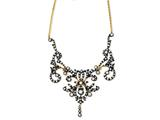 Cheryl M™ Gold Plated and Black-plated Sterling Silver CZ Scroll 17in Necklace