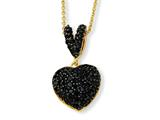 Cheryl M Gold Plated Sterling Silver Black CZ Heart 17in Necklace