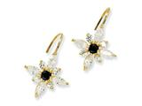 Cheryl M™ Gold Plated Sterling Silver Blk/Wht CZ Floral Wire Earrings