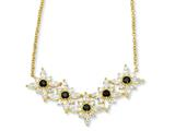 Cheryl M Gold Plated Sterling Silver Blk/Wht CZ Floral 18in Necklace