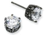 Cheryl M™ Black-plated Sterling Silver 8mm CZ Stud Earrings style: QCM350