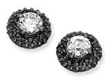 Cheryl M™ Black-plated Sterling Silver White and Black CZ Post Earrings style: QCM352