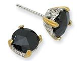 Cheryl M™ Sterling Silver and Gold Plated 8mm Rose-cut Black CZ Stud Earrings
