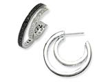 Cheryl M™ Sterling Silver Polished Black/White CZ Belt Earrings