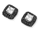 Cheryl M™ Black-plated Sterling Silver Asscher-cut Wht and Blk CZ Post Earrings