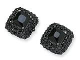 Cheryl M™ Black-plated Sterling Silver Asscher-cut Black CZ Post Earrings style: QCM359