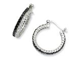 Cheryl M Sterling Silver Black/White CZ Post Hoop Earrings
