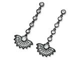 Cheryl M™ Black-plated Sterling Silver CZ Fan Dangle Post Earrings