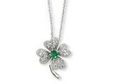 Cheryl M Sterling Silver Simulated Emerald/CZ 4-leaf Clover 18in Necklace