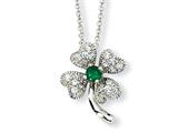 Cheryl M™ Sterling Silver Childs Simulated Emerald/CZ 4-leaf Clover 15in Necklace style: QCM368